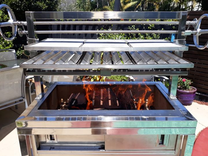 Gaucho Commercial Argentinean Style Two Tier Adjustable Height Wood Fire Parilla Grill